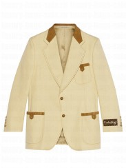 Gucci Women's Cotton And Suede Tailored Jacket Yellow