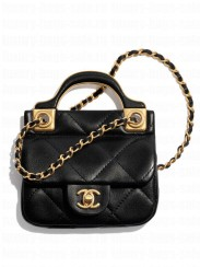 Chanel Flap Card Holder With Chain AP2271 Black