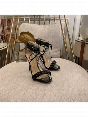 GIANVITO ROSSI LEOMI 105 MM LEATHER SANDALS BLACK Spring/Summer 2021 Collection