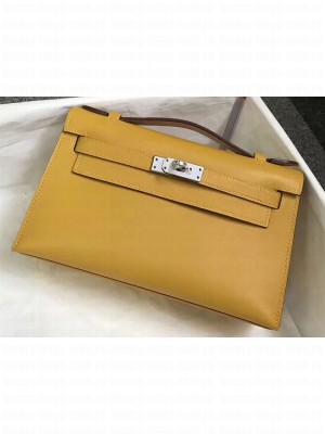 Hermes Kelly 22 Clutch Bag In Original Swift Leather Yellow