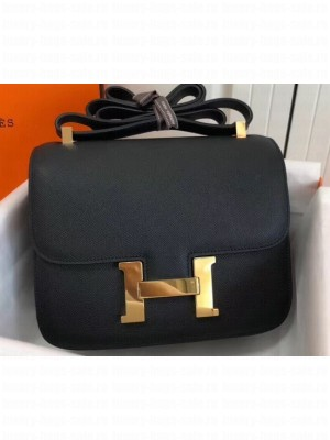 Hermes Constance Mini/MM Bag in Epsom Leather Black with Gold Hardware