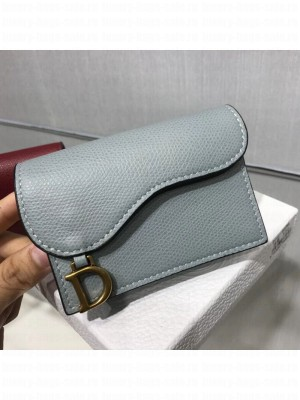 Dior Saddle Grained Calfskin Flap Card Coin Purse Wallet Light Gray 2019 Collection
