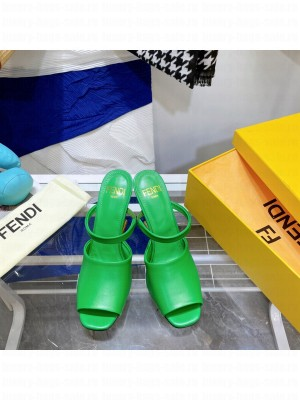 FENDI FIRST Green leather high-heeled sandals 2021 Collection