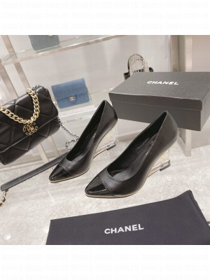 Chanel Women's Crystal heel Wedge Pumps Black 2021 Collection