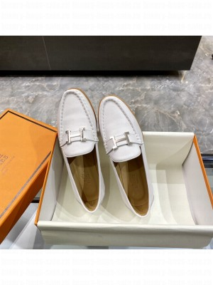 """Hermes signature """"H"""" Flat loafer White 2021 Collection"""