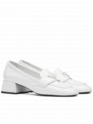 Prada Women's Patent Leather Loafers White