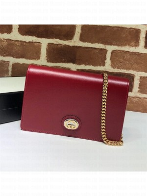 Gucci Leather Interlocking G Chain Card Case Wallet 598549 Red 2019 Collection