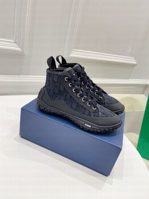 Chrisian Dior Unisex B28 HIGH-TOP SNEAKERBlue Dior Oblique Jacquard and Black Rubber 2021 Collection