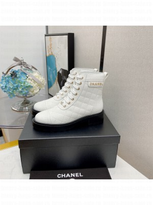 Chanel Women's Combat Boots White 03 2021 Collection