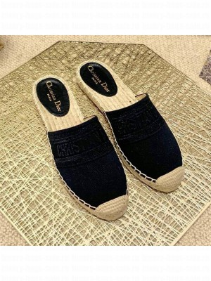 Dior Granville Espadrille Mules in Metallic Thread Embroidered Cotton Black Spring/Summer 2021 Collection