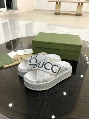 GUCCI CRISS-CROSS STRAPS GG SLIDE SANDALS WITH DIAMONDS WHITE 2021 Collection