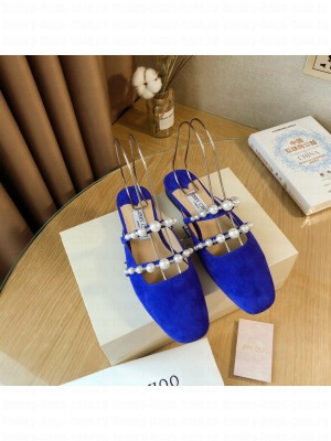 Jimmy Choo AMAYA FLAT Blue Suede Flats with Pearl Embellishment 2021 Collection