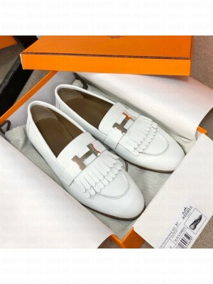 Hermes Royal Fringe Lambskin Flat Loafers White 2020 Collection