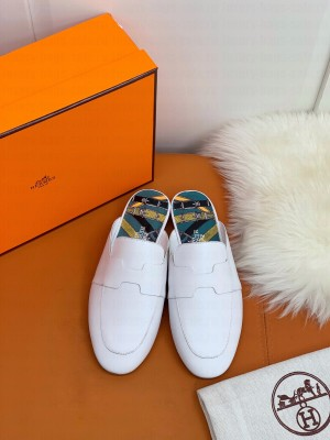 """Hermes Catena mule White goatskin """"H"""" cut-out 2021 Collection"""