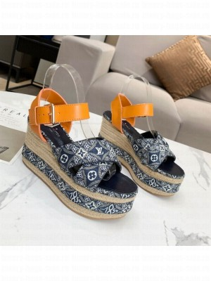 Louis Vuitton Since 1854 Boundary Wedge Sandal Blue 2021 Collection