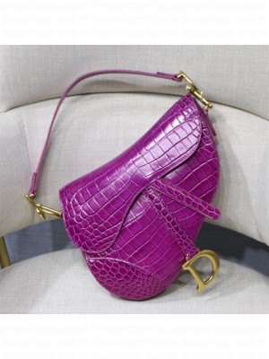 Dior Saddle Small/Medium Bag in Crocodile Embossed Leather Purple 2019 Collection