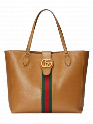 Gucci Medium tote bag with Double G and Web 649577 Coffee