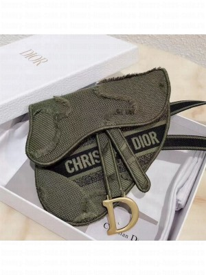 Dior Saddle Belt Bag in Camouflage Embroidered Canvas Bag Green 2019 Collection