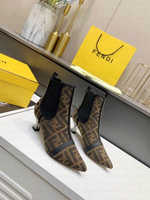 Fendi 5.5cm Brown fabric Ankle Boot 2021 Collection