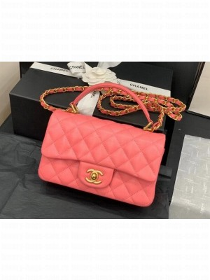 Chanel small tote bag Sheepskin & Gold-Tone Metal AS8816 pink
