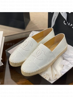 Chanel CC Patent Leather Espadrilles White Spring/Summer 2021 Collection 58