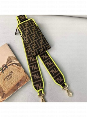 Fendi Strap You Canvas FF Shoulder Strap with iPhone Pocket Green  2021 Collection