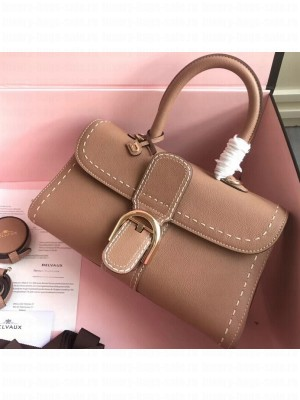 Delvaux Brillant East/West Mini Tote Bag In Togo Leather Large Camel