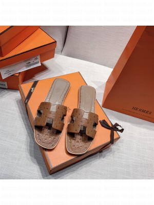 Hermes Oran Flat slippers with Ostrich Leather 089 2021 Collection