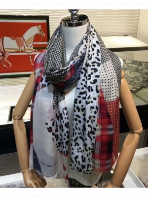 Christian Dior Silver stitching scarf Red