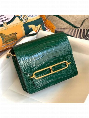 Hermes Sac Roulis 18cm Bag in Crocodile Embossed Calf Leather Green/Gold 2019 (Half Handmade) Collection