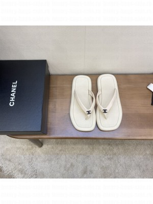 Chanel Flat Thong Sandals White
