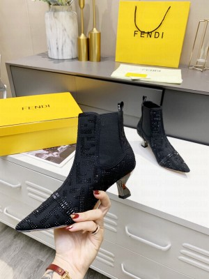 Fendi 5.5cm Black fabric with rhinestone embroidery Ankle Boot 2021 Collection