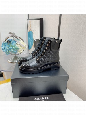 Chanel Women's Combat Boots Black 05 2021 Collection