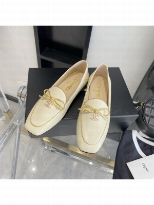 Chanel Leather Bow CC Pendant Loafers Beige 2021 Collection