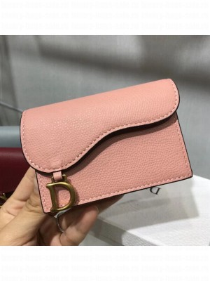 Dior Saddle Grained Calfskin Flap Card Coin Purse Wallet Pink 2019 Collection