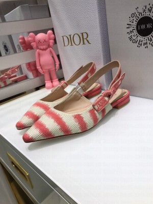 Dior J'Adior Slingback Ballerina Flat in Pink D-Stripes Embroidery 2021 Collection
