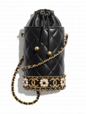 Chanel Bucket With Chain AP2257 Black
