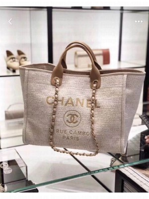 Chanel Toile Large Deauville Canvas Shopping Bag Ivory 2019 Collection