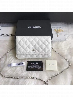 Chanel Caviar Leather Quilting Wallet On Chain WOC White