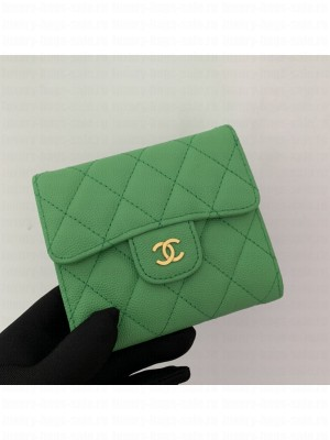 Chanel Classic Small Flap Wallet 82288 AP0231 Grained Calfskin Green/Gold