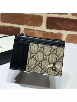 Gucci GG Canvas Leather Bee Card Case 597555 2019 Collection
