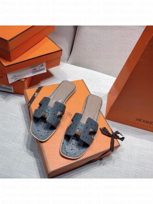 Hermes Oran Flat slippers with Ostrich Leather 085 2021 Collection