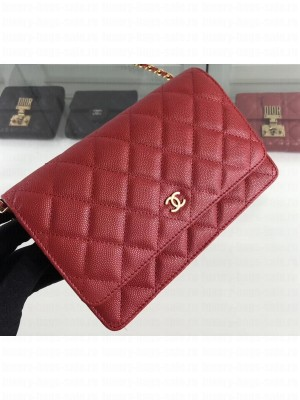 Chanel Caviar Leather Wallet On Chain WOC Bag A33814 Red 2019