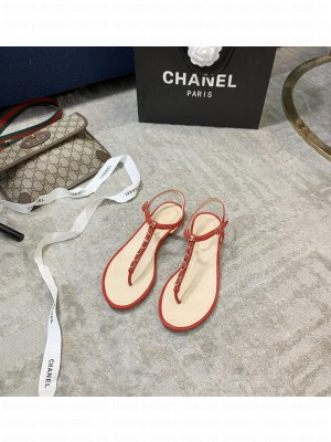 Chanel Suede Thong Slide Sandal Red 2021 Collection