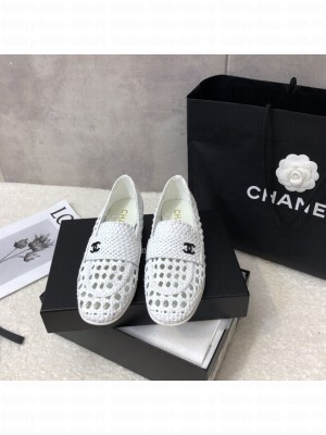 Chanel G37403 Shiny Braided Goatskin White Loafers 2021 Collection