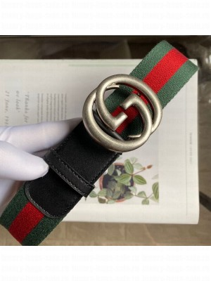 Gucci Web Fabric Belt 38mm with Vintage Interlocking G Buckle Red/Green/Silver 2020 Collection