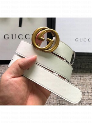 Gucci Calfskin Belt 30mm with GG Buckle White 2020 Collection