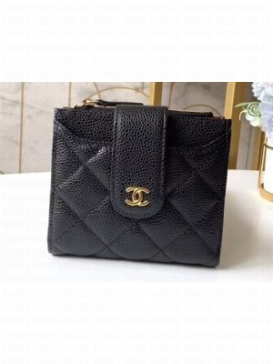 Chanel Small Wallet with Card Holder A31567 Grained Calfskin Black