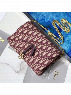 Dior Saddle Large Wallet on Chain Clutch WOC in Burgundy Oblique Canvas 2019 Collection