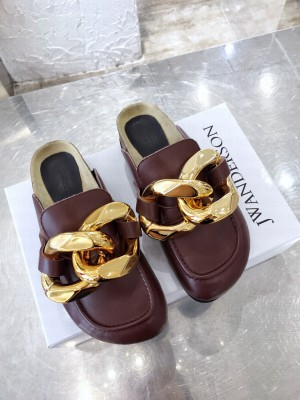 JW Anderson WOMEN'S CHAIN LOAFER MULES BURGUNDY